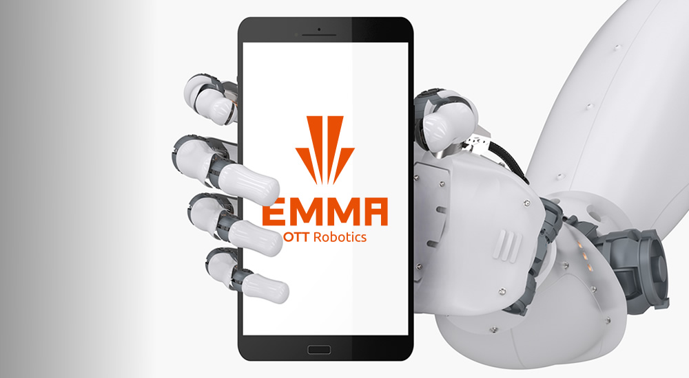 Here you can see a photo of the robotic hand from the Robotic Process Automation solution EMMA RPA
